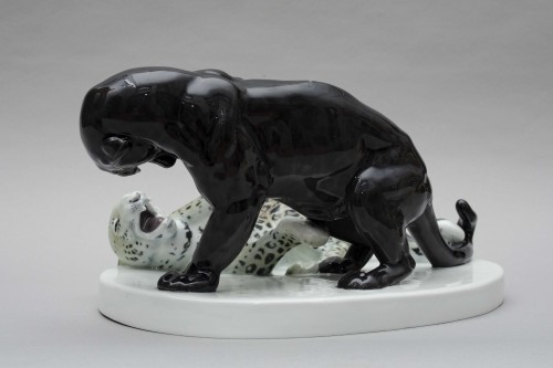 Porcelain & Faience  - Combat of panthers, Rudolph Lohner for Meissen