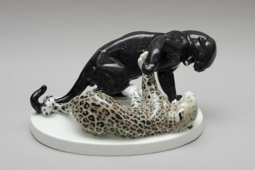 Combat of panthers, Rudolph Lohner for Meissen - Art nouveau