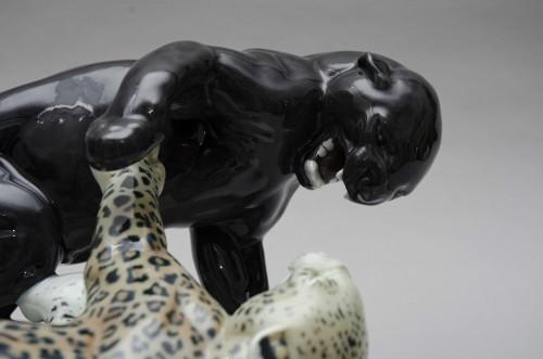 Art nouveau - Combat of panthers, Rudolph Lohner for Meissen