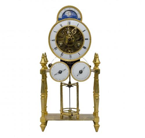 "Skeleton ""portique"" clock, Pillard in Troyes late 18th century"