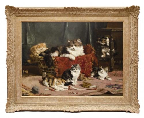 A family of cats at play - Charles Van den Eycken (1859-1923)