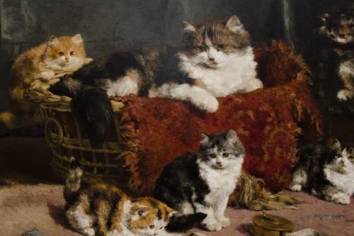 A family of cats at play - Charles Van den Eycken (1859-1923) -