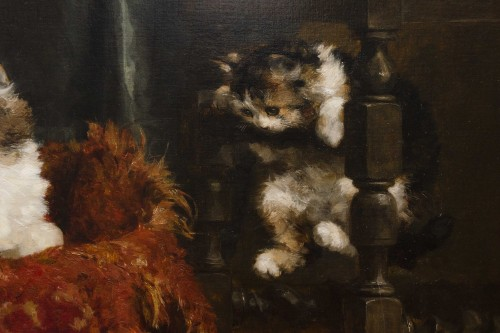 A family of cats at play - Charles Van den Eycken (1859-1923) - Art nouveau
