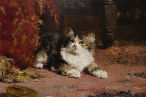 Art nouveau - A family of cats at play - Charles Van den Eycken (1859-1923)