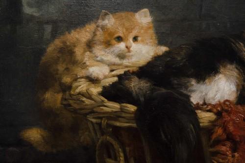 Antiquités - A family of cats at play - Charles Van den Eycken (1859-1923)