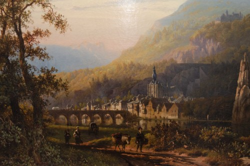 Cityscape over Dinant - Roth George Andries  (Amsterdam 1809-1887) - Paintings & Drawings Style Louis-Philippe