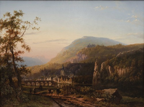 Cityscape over Dinant - Roth George Andries  (Amsterdam 1809-1887) -
