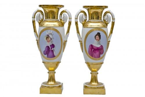 """Empire pair of porcelain vases """"Merveilleuses"""", Paris"""