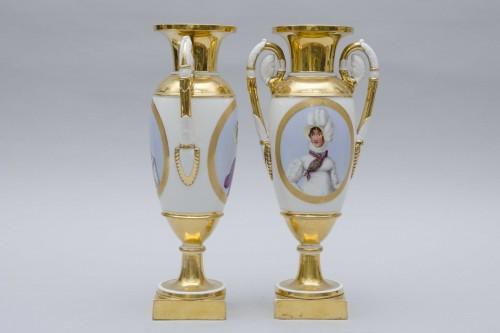 """Empire pair of porcelain vases """"Merveilleuses"""", Paris - Porcelain & Faience Style Empire"""