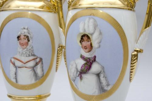 """Porcelain & Faience  - Empire pair of porcelain vases """"Merveilleuses"""", Paris"""
