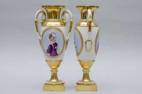 "19th century - Empire pair of porcelain vases ""Merveilleuses"", Paris"