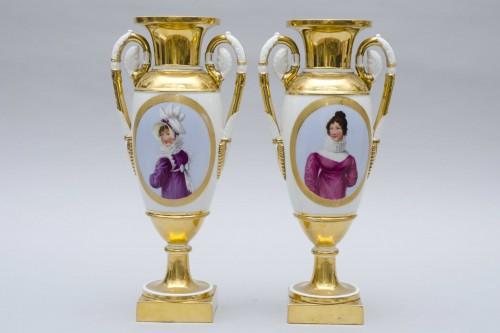 "Empire - Empire pair of porcelain vases ""Merveilleuses"", Paris"