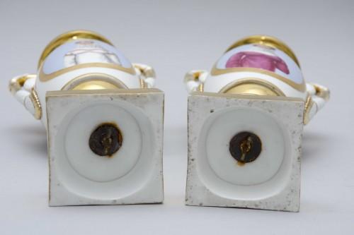 """Antiquités - Empire pair of porcelain vases """"Merveilleuses"""", Paris"""
