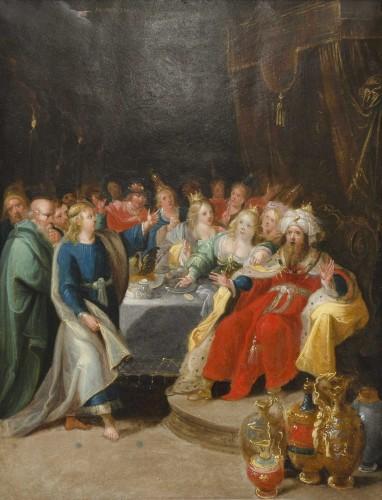 """""""Feast of Balthazar"""" workshop of Frans Francken II (1581-1642) - Paintings & Drawings Style Louis XIII"""