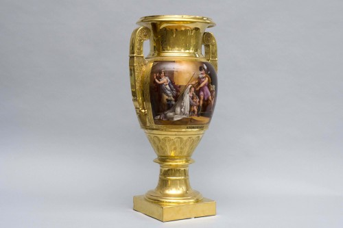 """Porcelain & Faience  - Monumental Empire vase """"Andromaque and Pyrrhus"""", attributed to Darte Frères in Paris"""