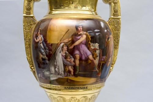 """Antiquités - Monumental Empire vase """"Andromaque and Pyrrhus"""", attributed to Darte Frères in Paris"""