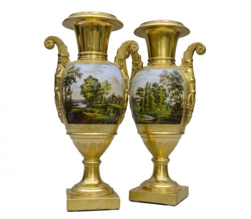 Pair of large Empire vases, gilt ground & landscapes