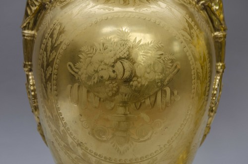 Pair of large Empire vases, gilt ground & landscapes -