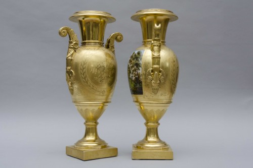 19th century - Pair of large Empire vases, gilt ground & landscapes