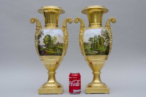 Pair of large Empire vases, gilt ground & landscapes - Empire