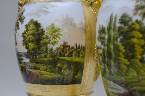 Empire - Pair of large Empire vases, gilt ground & landscapes