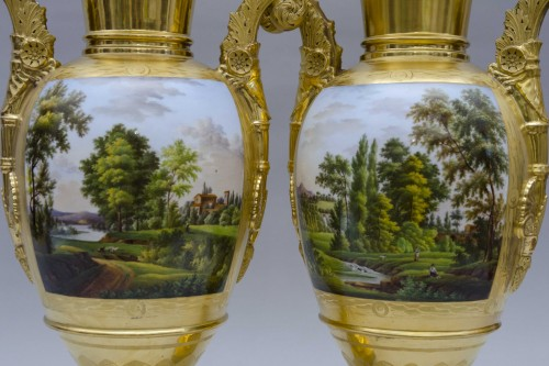 Antiquités - Pair of large Empire vases, gilt ground & landscapes