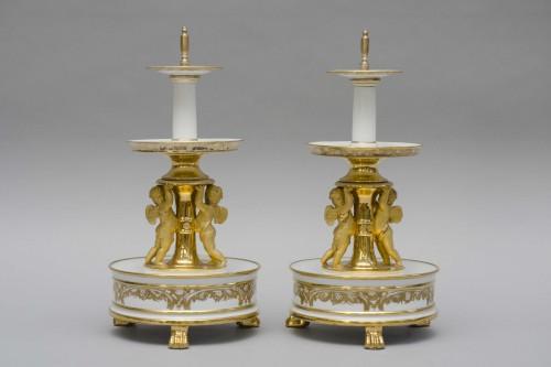 Porcelain & Faience  - Pair of three tier dessert stands, Feuillet in Paris