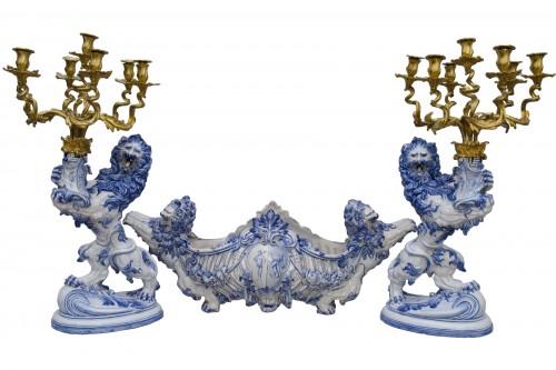 Momunetal mantel garniture, earthenware, Emile Gallé  in Nancy (1870-1876)