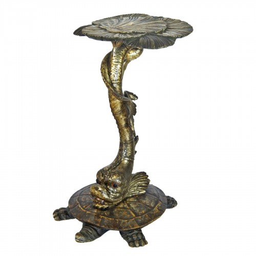 Side table with sculpted dolphin