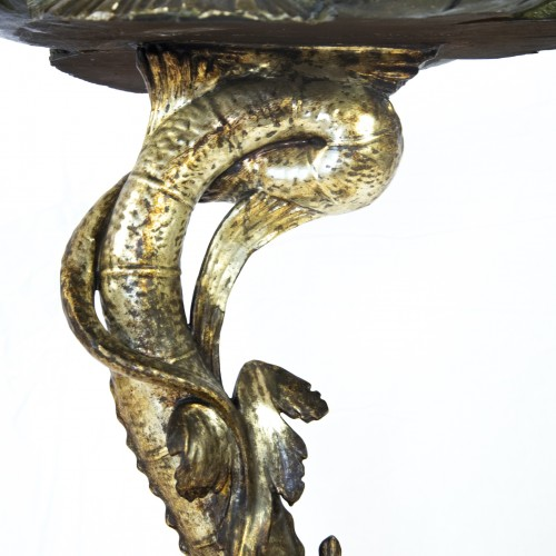 19th century - Side table with sculpted dolphin