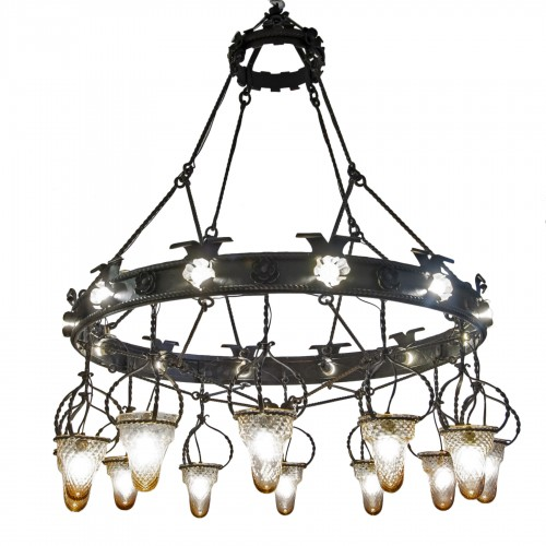 Wrought iron chandelier - Alessandro Mazzucotelli (1865 – 1938)