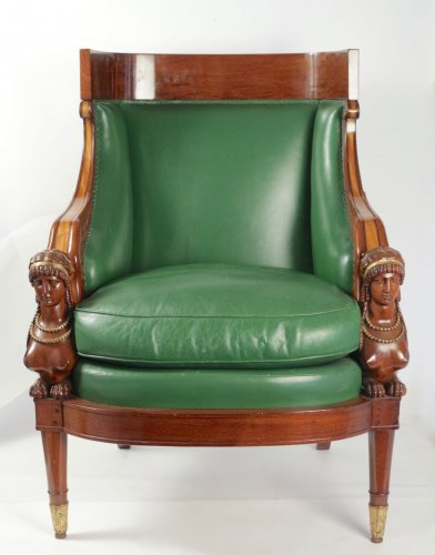 Antiquités - FrenchLouis-Philippe fauteuil  stamped Antoine-Constant DONNADIEU