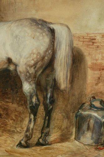 Eugène-Louis Lami ( Paris 1800-1890 ) - Horse of the Duc de Nemours -