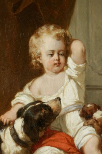 Paintings & Drawings  - Joseph Beaume ( 1796-1885 ) - Young boy and girl