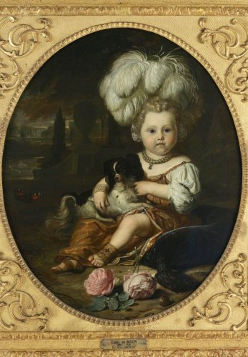 Karel de Moor (1655-1738) - Youg cchild with dog - Paintings & Drawings Style