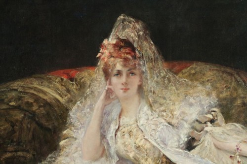 Georges-Jules-Victor CLAIRIN (1843-1919) - Woman with mantilla - Paintings & Drawings Style