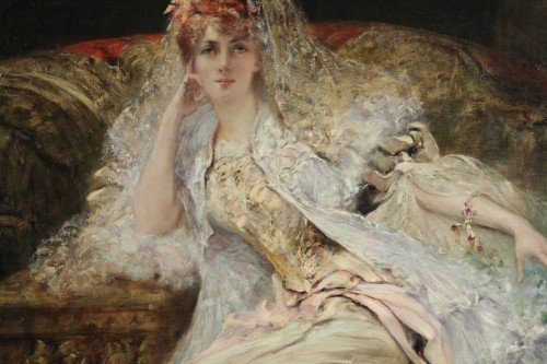 Paintings & Drawings  - Georges-Jules-Victor CLAIRIN (1843-1919) - Woman with mantilla