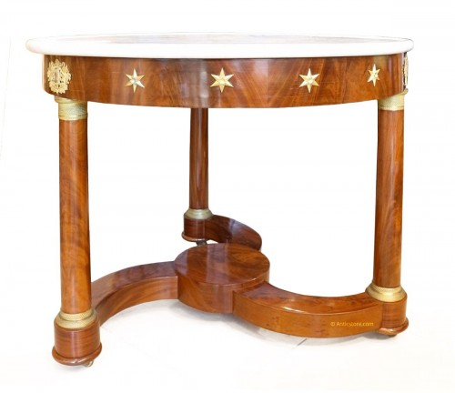 French Empire Gueridon table in mahogany and bronze