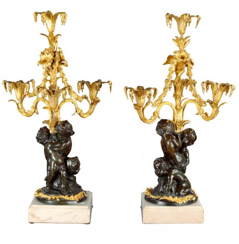 Paire of Louis XVI candelabra in bronze