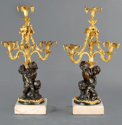 Paire of Louis XVI candelabra in bronze - Lighting Style Louis XVI