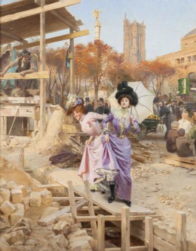 Basile Lemeunier (1852-1922) - Constructing the Metropolitan (Paris) - Paintings & Drawings Style Art nouveau
