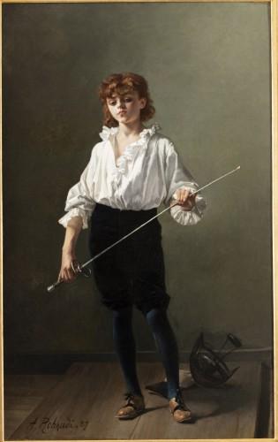 """""""La Leçon d'escrime"""" par Alcide-Théophile Robaudi. - Paintings & Drawings Style Art nouveau"""
