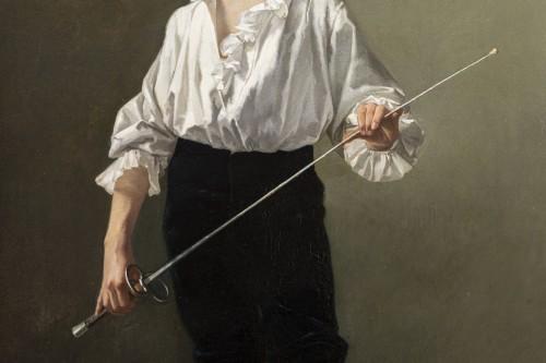 """Paintings & Drawings  - """"La Leçon d'escrime"""" par Alcide-Théophile Robaudi."""