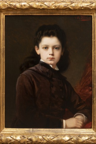 Nathaniel Sichel - Portrait of a young girl - Paintings & Drawings Style