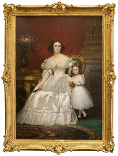 Joseph-Désiré Court (1797 - 1865) - Portrait of Madame de Villeneuve Bargemon and her daughter