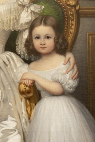 19th century - Joseph-Désiré Court (1797 - 1865) - Portrait of Madame de Villeneuve Bargemon and her daughter