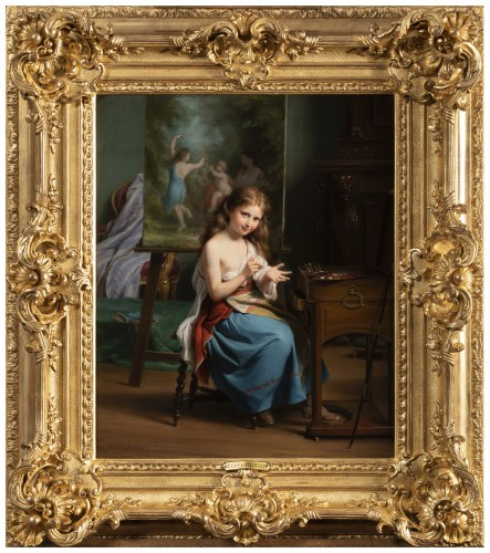 Fritz Zuber-Bühler (1822-1896) - Portrait of a girl in her workshop