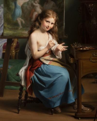 Paintings & Drawings  - Fritz Zuber-Bühler (1822-1896) - Portrait of a girl in her workshop
