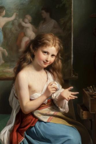 19th century - Fritz Zuber-Bühler (1822-1896) - Portrait of a girl in her workshop