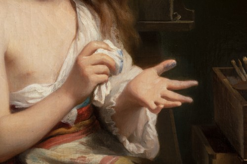 - Fritz Zuber-Bühler (1822-1896) - Portrait of a girl in her workshop